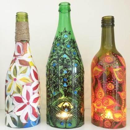 Up-cycled Glass Bottle - Painting
