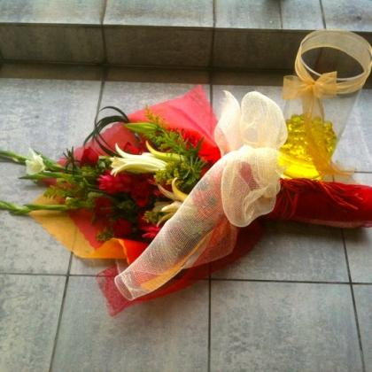 Hand Bouquet to Vase Floral Arrangement (assorted imported flowers)