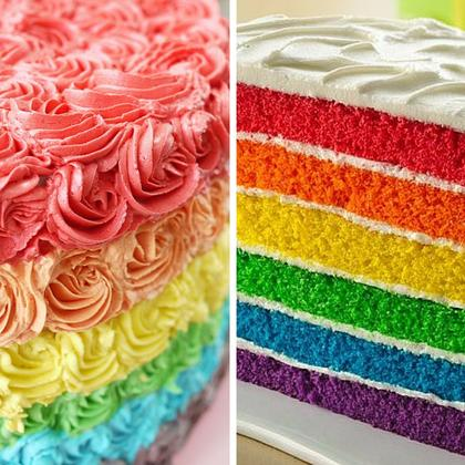 Rainbow Cake and Piping Decoration