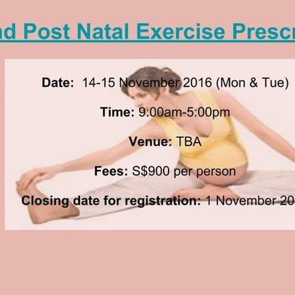 Pre and post natal exercise prescription