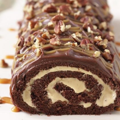 Salted Caramel Chocolate Cake Roll