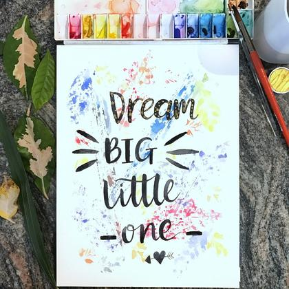 Watercolour Leaf Stamping & Brush Lettering Workshop