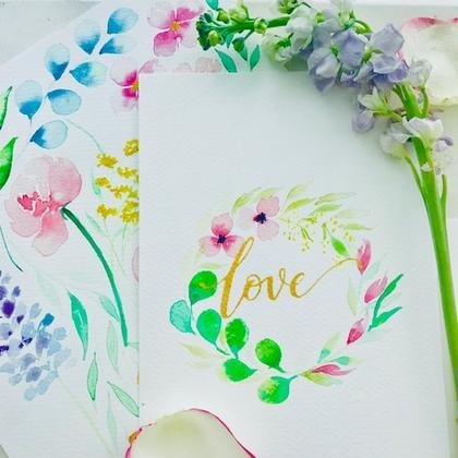 Floral Watercolour x Brush Lettering Calligraphy @My Grandfather Cafe, Bukit Batok