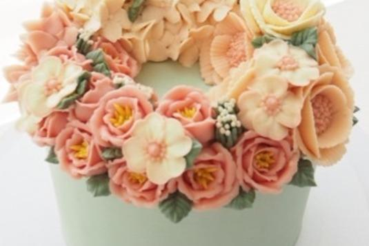 3 days basic korean buttercream flower cake course cake baking
