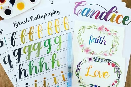 Watercolour brush calligraphy calligraphy classes in singapore