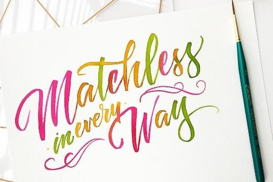 Watercolour brush lettering calligraphy classes in