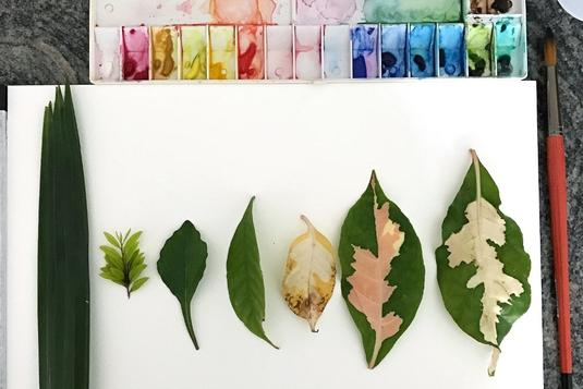 Watercolour leaf stamping brush lettering workshop