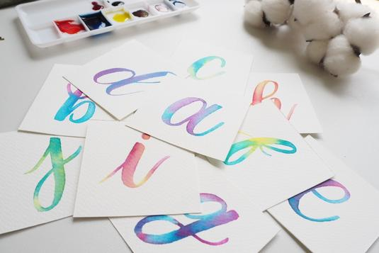 Foiling watercolour brush calligraphy