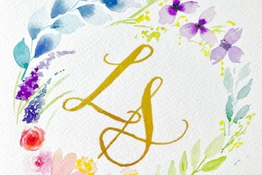 Floral watercolour and brush calligraphy painting