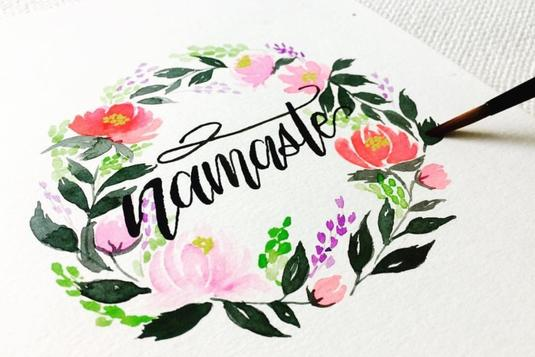 Floral wreath watercolour brush lettering calligraphy