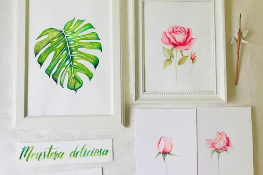 Botanical illustration brush calligraphy painting