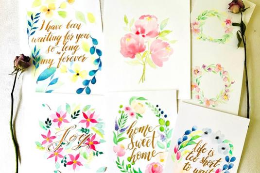 Floral watercolour brush lettering calligraphy