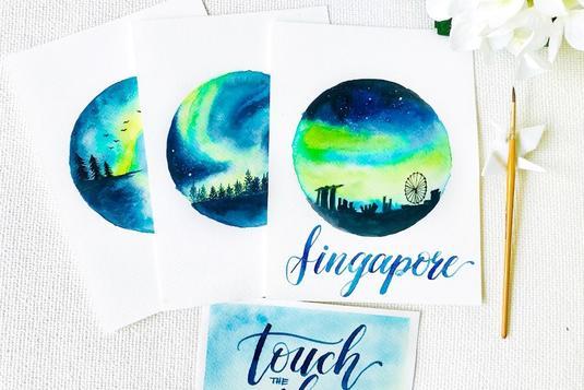 In aurora sky brush calligraphy