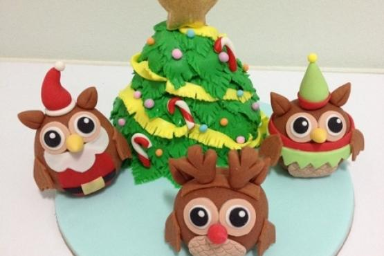 An Owly Christmas! - Cake Decorating Classes in Singapore - LessonsGoWhere
